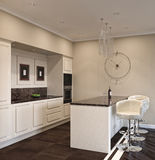 3D海岛厨房的例证 免版税库存图片