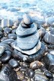 3d海滩蒙太奇小卵石照片石头 免版税库存照片