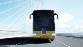3d游览车模型在桥梁的 非常快速驾驶 3d?? 向量例证