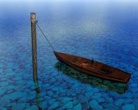 3d漂浮在水的翻译小船 库存照片
