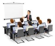 3D演讲对有膝上型计算机的学生的老师 向量例证