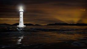 3D灯塔和黑暗的海水的翻译 免版税库存图片