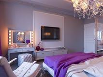 3d灰色和白色口气的翻译卧室与紫色口音和大碗柜 库存例证