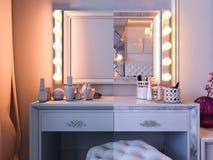 3d灰色和白色口气的翻译卧室与紫色口音 皇族释放例证