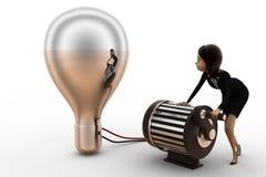3d点燃电灯泡的妇女使用发电器概念 库存图片