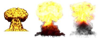 3D爆炸- 3个氢弹大非常高度详细的另外阶段蘑菇云爆炸的例证与烟的和 库存图片