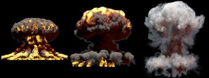 3D爆炸- 3个被隔绝的原子弹和火焰大另外阶段火蘑菇云爆炸的例证与烟的 库存图片