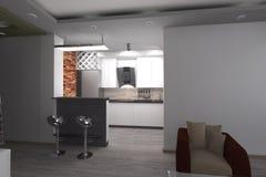 3D现代厨房的设计 库存照片