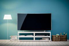3d现代客厅内部翻译有电视和灯的 库存例证