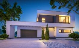 3d现代房子翻译在晚上 免版税库存照片
