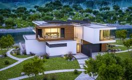 3d现代房子翻译由河的晚上 免版税库存照片