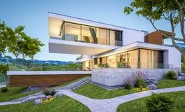 3d现代房子翻译由河的晚上 免版税图库摄影