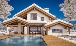 3d现代舒适房子翻译瑞士山中的牧人小屋样式的 向量例证