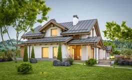 3d现代舒适房子翻译瑞士山中的牧人小屋样式的 库存照片