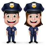 3D现实友好的警察字符警察和女警 免版税库存照片
