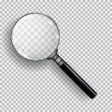3D现实放大镜 在格子花呢披肩黑色白色背景的透明寸镜 免版税库存图片