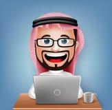 3D现实沙特阿拉伯商人漫画人物坐的工作 免版税库存图片