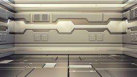 3D现实科学幻想小说太空飞船走廊翻译  库存例证