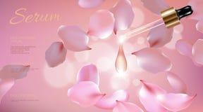 3d现实花自然有机化妆广告 淡粉红色瓣玻璃血清精华面孔油小滴关心 瓶 库存例证