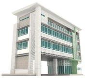 3D现代办公楼建筑学外部设计的边我 库存照片