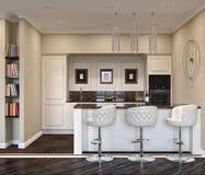 3D现代厨房的例证 免版税库存照片