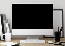 3D现代屏幕工作区模板的例证,嘲笑背景 免版税库存照片
