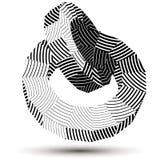 3D现代时髦的抽象有条纹的传染媒介建筑, origami f 库存例证