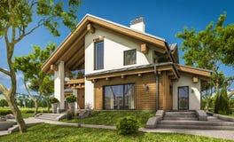 3d现代舒适房子翻译瑞士山中的牧人小屋样式的 皇族释放例证