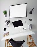 3D现代计算机模板,工作区嘲笑的例证, 免版税图库摄影