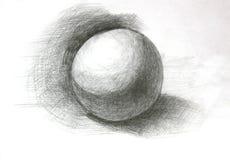 3D球形铅笔剪影 皇族释放例证