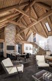 3D瑞士山中的牧人小屋客厅翻译  免版税图库摄影