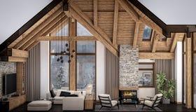 3D瑞士山中的牧人小屋客厅翻译  免版税库存图片