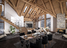 3D瑞士山中的牧人小屋客厅翻译  库存图片