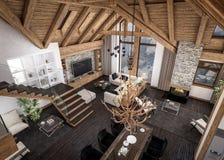3D瑞士山中的牧人小屋客厅翻译  图库摄影