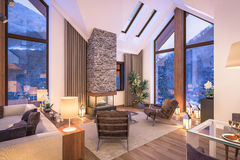 3D瑞士山中的牧人小屋晚上客厅翻译  库存照片