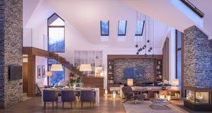 3D瑞士山中的牧人小屋晚上客厅翻译  向量例证