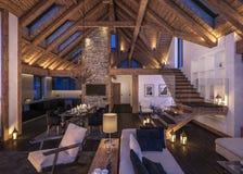 3D瑞士山中的牧人小屋晚上客厅翻译  免版税图库摄影