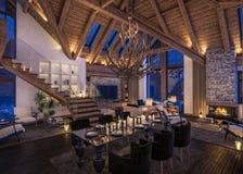 3D瑞士山中的牧人小屋晚上客厅翻译  免版税库存照片
