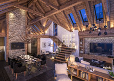 3D瑞士山中的牧人小屋晚上客厅翻译  皇族释放例证