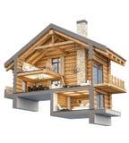 3d瑞士山中的牧人小屋的翻译部分 向量例证
