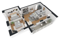 3d用装备的家庭公寓翻译  免版税库存图片