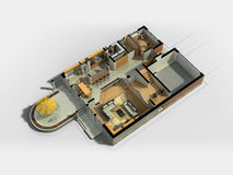 3D用装备的议院内部 免版税库存照片
