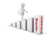 3d由下个水平决定的人攀登 成功事业概念 库存图片