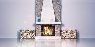 3d由石头制成和放置木柴的壁炉的模型 家庭,在内部的瑞士山中的牧人小屋样式 ?? 皇族释放例证