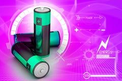 3d电池在有吸引力的背景中 图库摄影