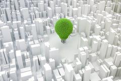 3d电灯泡和城市,绿色经济概念的图象 免版税库存图片