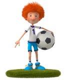 3d男孩足球运动员 免版税库存照片