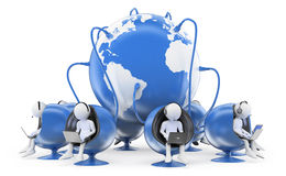 3D白人。全球性电话中心 免版税库存照片