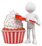 3D白人。冰淇凌用莓 免版税库存图片