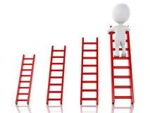 3d白人上升的梯子 在商业的成功 免版税库存照片